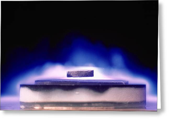 Levitation Photographs Greeting Cards - Magnetic Levitation Of Superconductor Greeting Card by David Parkerimiuniv. Of Birmingham High Tc Consortium.