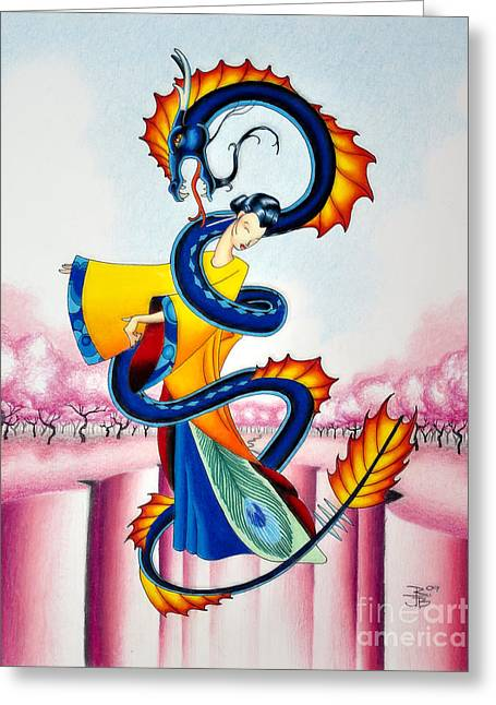 Ying And Yang Greeting Cards - Maiden and Serpent Greeting Card by Robert Ball
