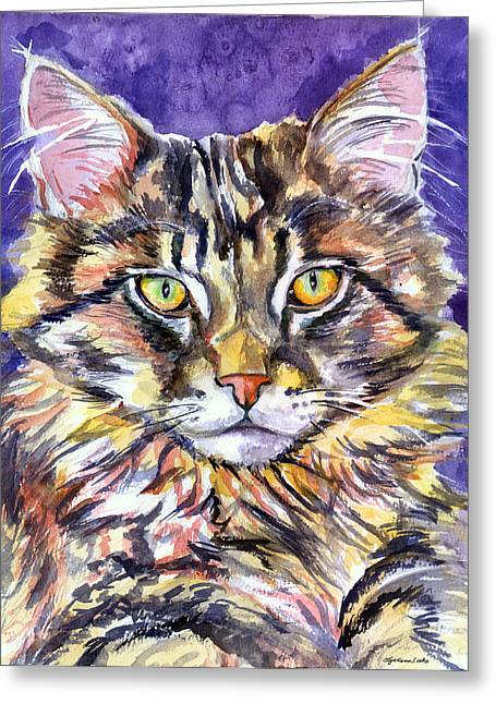 Maine Coon Greeting Cards - Maine Coon Cat Greeting Card by Lyn Cook