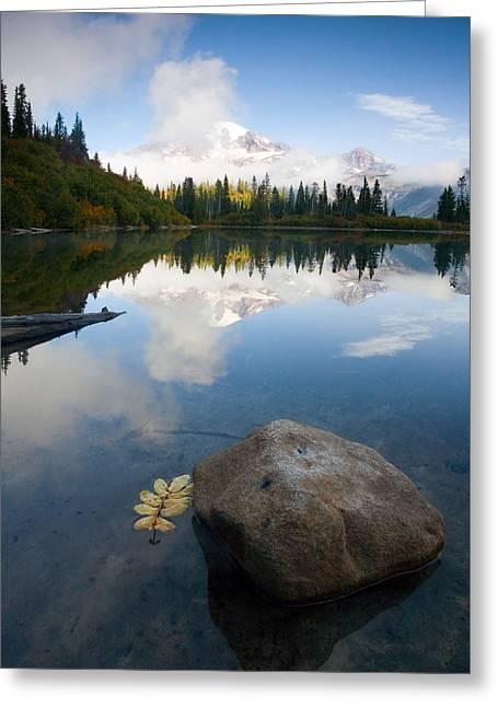 Mt Rainier Greeting Cards - Majesty Hidden Greeting Card by Mike  Dawson
