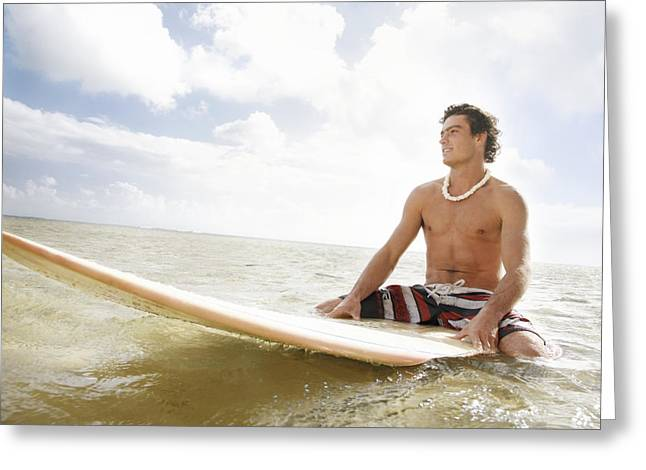 Wind Surfing Art Greeting Cards - Male Surfer Greeting Card by Brandon Tabiolo - Printscapes
