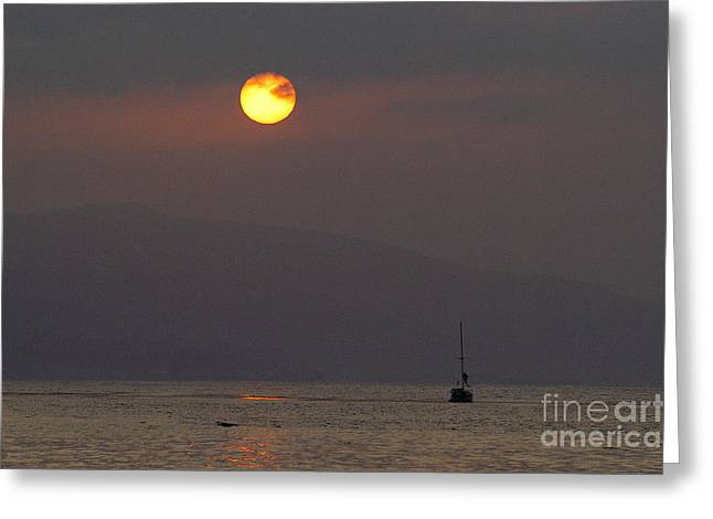 Sailboat Ocean Greeting Cards - Malibu sunrise Greeting Card by Marc Bittan