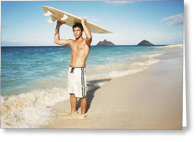 Surfing Art Greeting Cards - Man at the beach with surfboard Greeting Card by Brandon Tabiolo - Printscapes