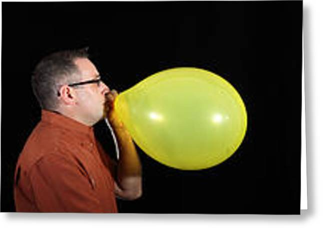Inflation Greeting Cards - Man Bursting A Balloon Greeting Card by Ted Kinsman