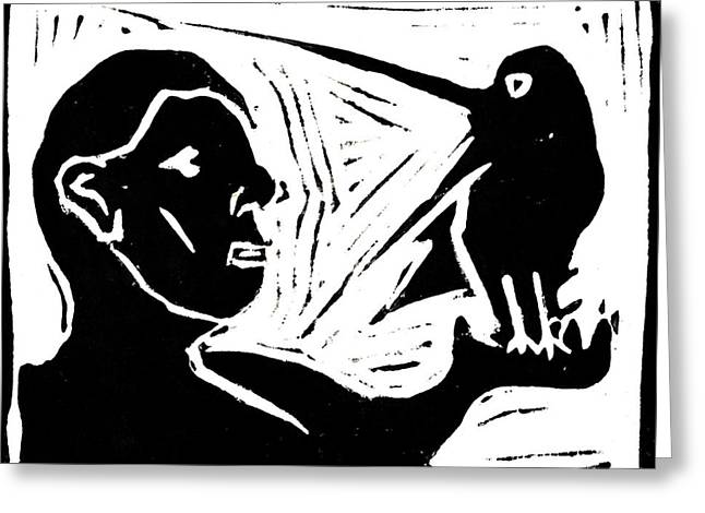 Lino Paintings Greeting Cards - Man Holding a Bird Greeting Card by Anon Artist