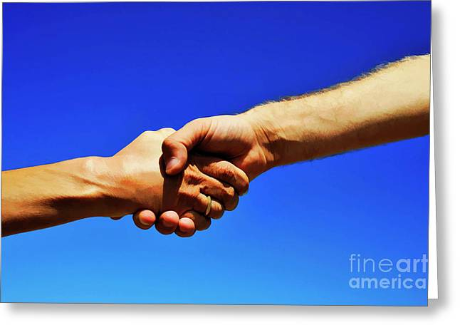 45-49 Years Greeting Cards - Man holding womans hands Greeting Card by Sami Sarkis