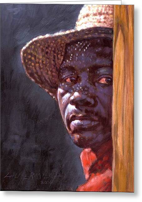Black Men Paintings Greeting Cards - Man In Straw Hat Greeting Card by John Lautermilch