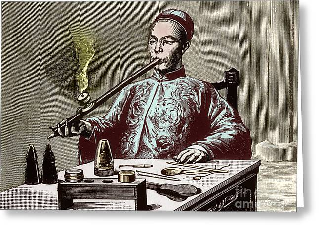 Enhanced Photographs Greeting Cards - Man Smoking Opium Greeting Card by Science Source