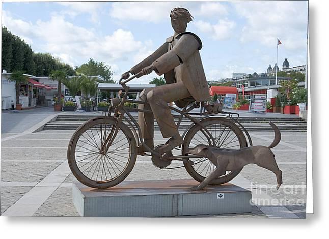 Carmona Greeting Cards - Man with bicycle Greeting Card by Fabrizio Ruggeri