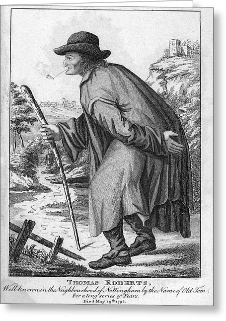 Country Dirt Roads Greeting Cards - MAN WITH CANE, c1795 Greeting Card by Granger