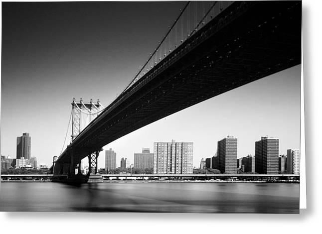 Black Greeting Cards - Manhattan Bridge Greeting Card by Nina Papiorek