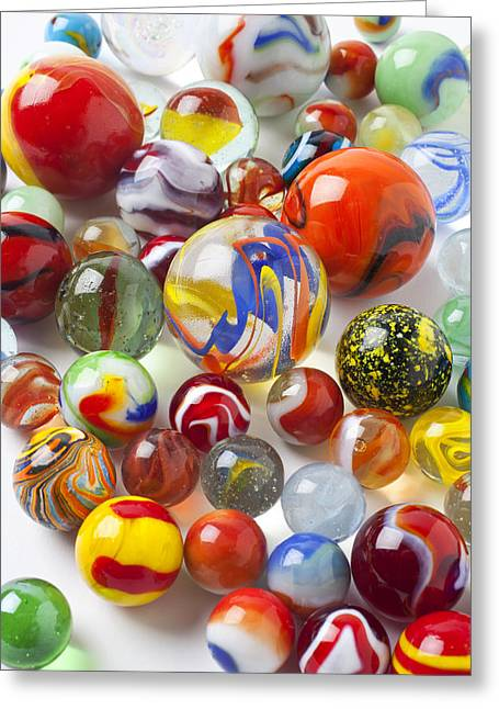 Amusements Greeting Cards - Many beautiful marbles Greeting Card by Garry Gay