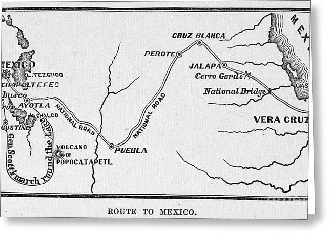 Mexico City Greeting Cards - MAP: MEXICAN WAR, c1847 Greeting Card by Granger