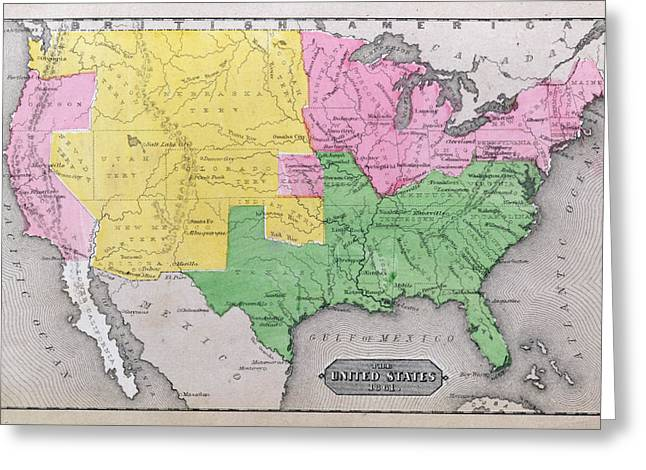 Map of the United States Greeting Card by John Warner Barber and Henry Hare