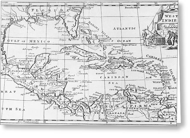 West Indies Greeting Cards - Map of the West Indies Florida and South America Greeting Card by English School