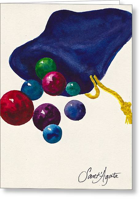Transparent Fabric Greeting Cards - Marbles Greeting Card by Frank SantAgata