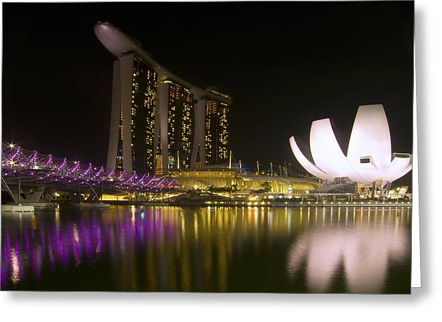 Vivid Colour Greeting Cards - Marina Bay Sands Hotel and ArtScience Museum in Singapore Greeting Card by Zoe Ferrie