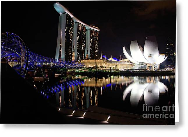 Asien Greeting Cards - Marina Bay Sands Greeting Card by Joerg Lingnau