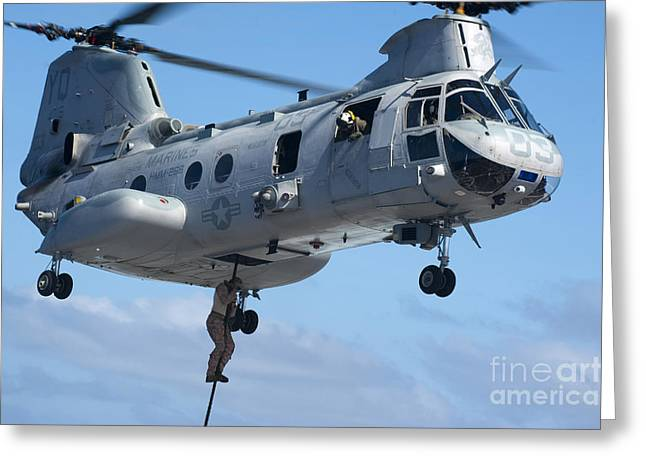 Fast Rope Greeting Cards - Marines Fast Rope From A Ch-46 Sea Greeting Card by Stocktrek Images