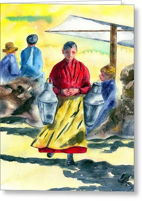 Impressionistic Market Greeting Cards - Market Day Greeting Card by Joyce Ann Burton-Sousa