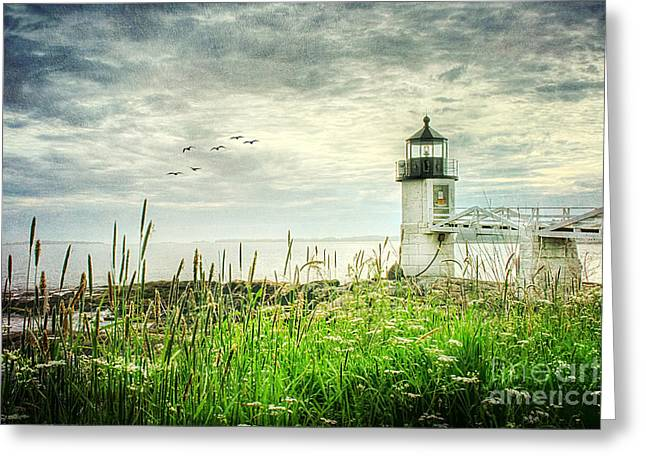 Maine Icons Greeting Cards - Marshall Point Greeting Card by Darren Fisher