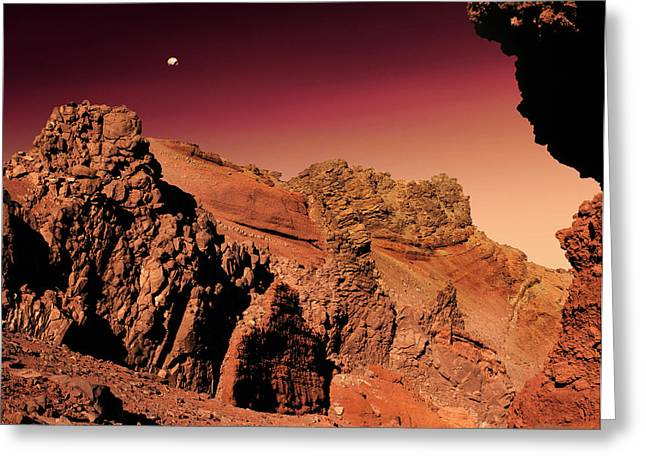 Phobos Greeting Cards - Martian Landscape Greeting Card by Detlev Van Ravenswaay