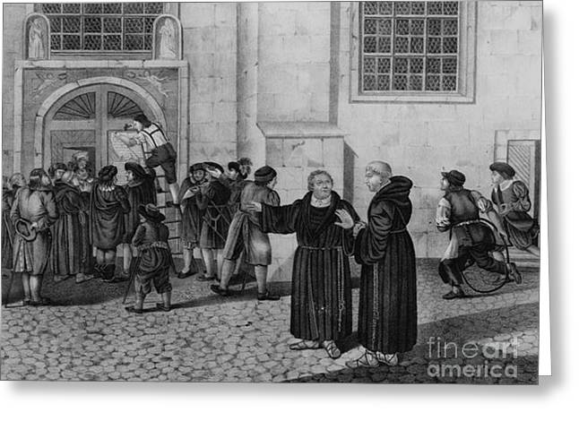 Taught Greeting Cards - Martin Luther, German Theologian Greeting Card by Photo Researchers