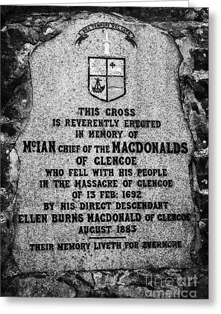 Massacre Greeting Cards - Massacre Of Glencoe Memorial Highlands Scotland Uk Greeting Card by Joe Fox