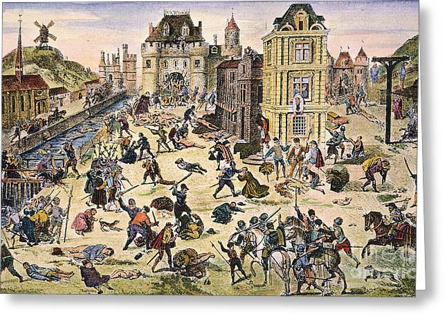 Discrimination Photographs Greeting Cards - Massacre Of Huguenots Greeting Card by Granger
