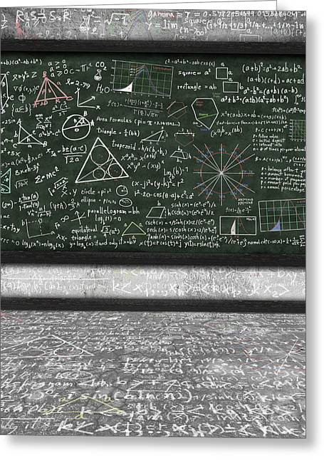 Mathematical Greeting Cards - Maths Formula On Chalkboard Greeting Card by Setsiri Silapasuwanchai
