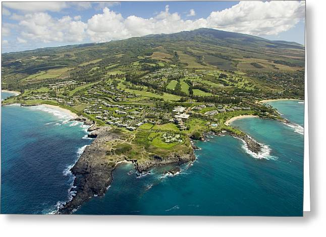 From Above Greeting Cards - Maui Aerial Of Kapalua Greeting Card by Ron Dahlquist - Printscapes