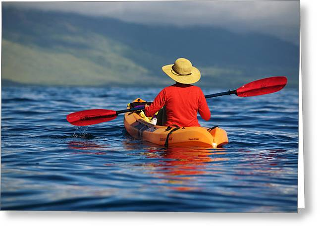 Athletic Photo Greeting Cards - Maui Kayaker Greeting Card by Ron Dahlquist - Printscapes