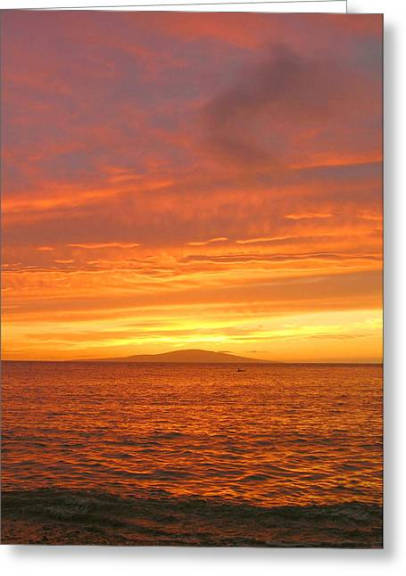 Tropical Oceans Greeting Cards - Maui Sunset Greeting Card by Stephen  Vecchiotti