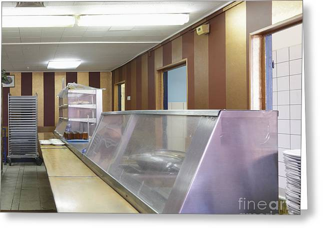 Display Case Greeting Cards - Meal Line at a Cafe Greeting Card by Magomed Magomedagaev
