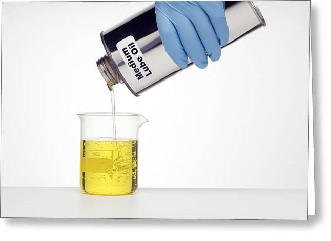 Lubricate Greeting Cards - Medium Lubricating Oil Greeting Card by Paul Rapson