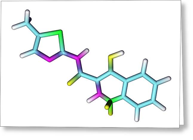 Anti Greeting Cards - Meloxicam Drug Molecule Greeting Card by Dr Tim Evans