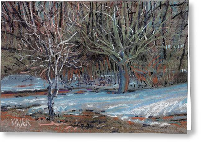 Snow Pastels Greeting Cards - Melting Snow Greeting Card by Donald Maier