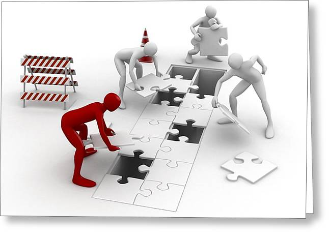Men Putting Puzzle Pieces Together Greeting Card by Pasieka