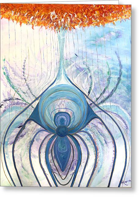 Web Of Life Paintings Greeting Cards - Messages from the Cosmos Greeting Card by Judy M Watts-Rohanna