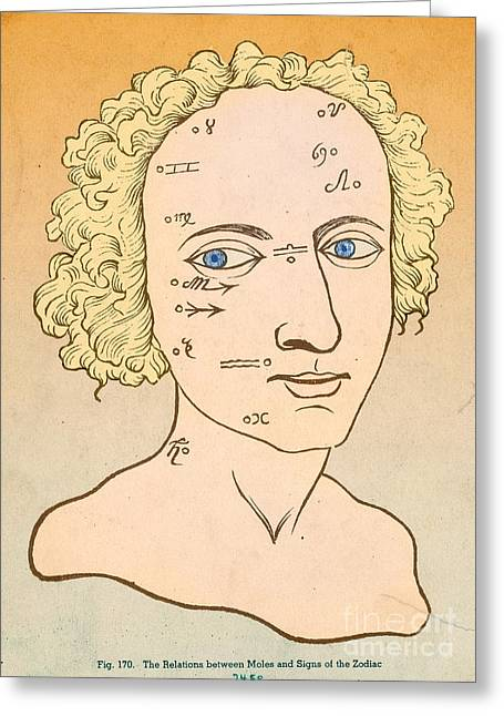 Facial Mole Greeting Cards - Metoposcopy, 17th Century Greeting Card by Science Source