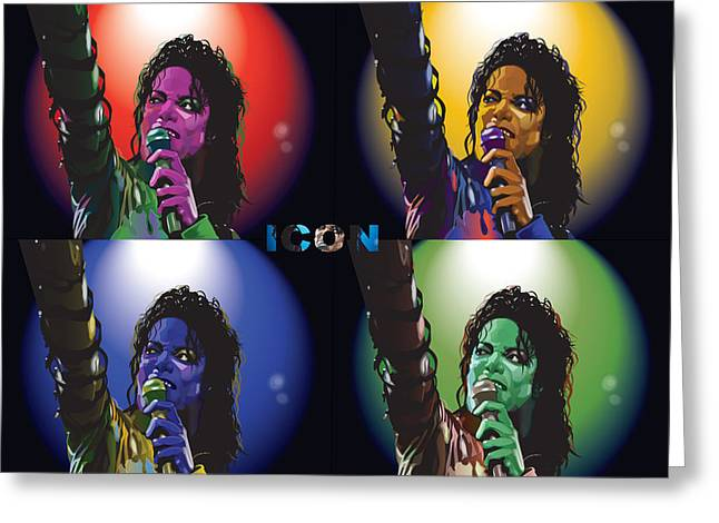 Worhol Greeting Cards - Michael Jackson Icon4 Greeting Card by Mike  Haslam