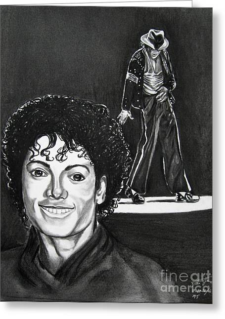 King Of Pop Drawings Greeting Cards - Michael Jackson II Greeting Card by Toni  Thorne