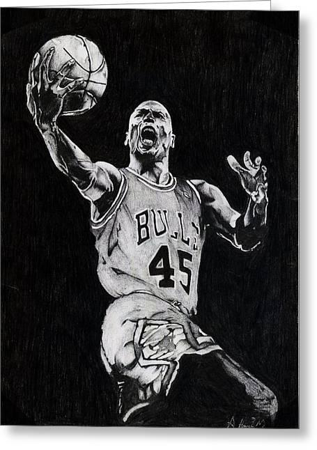Best Sellers -  - Basket Ball Game Greeting Cards - Michael Jordan Greeting Card by Hari Mohan