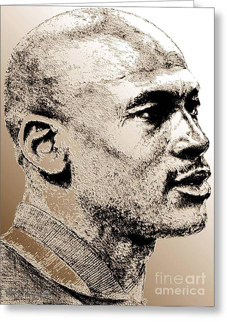 Endorsement Mixed Media Greeting Cards - Michael Jordan in 1990 Greeting Card by J McCombie