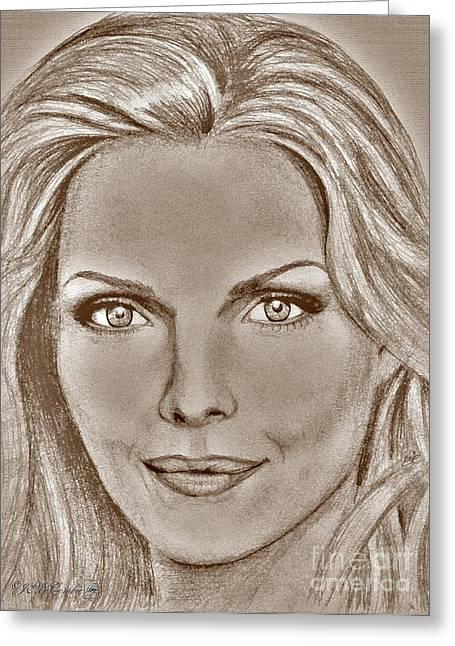 Michelle Mixed Media Greeting Cards - Michelle Pfeiffer in 2010 Greeting Card by J McCombie