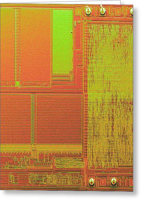 Integrated Photographs Greeting Cards - Microchip, Sem Greeting Card by Power And Syred