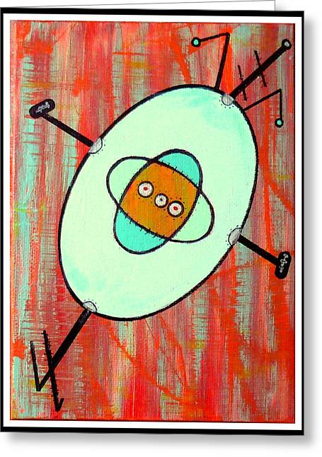 Microcosmic Gizmo Greeting Card by Debra Jacobson