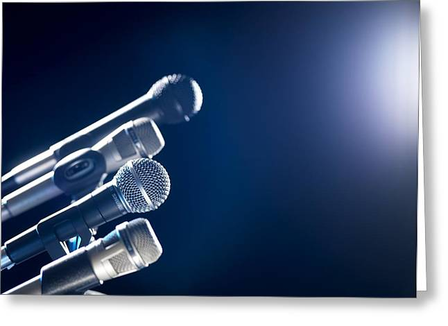 Press Conference Greeting Cards - Microphones Greeting Card by Tek Image