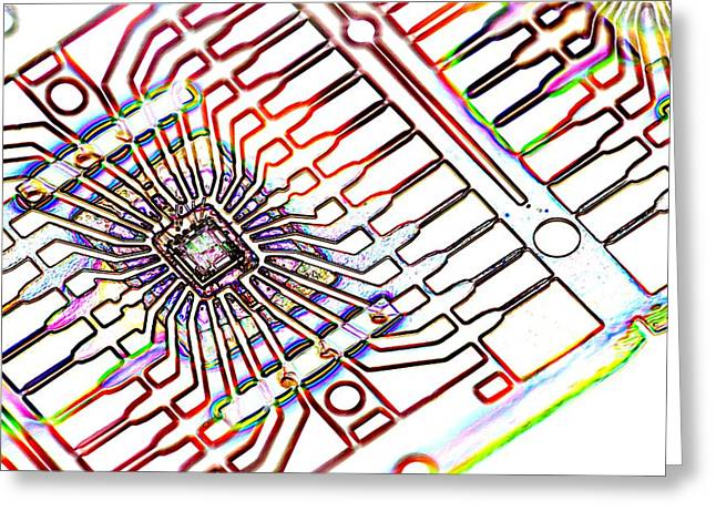 Microprocessor Greeting Cards - Microprocessor Chip, Artwork Greeting Card by Pasieka