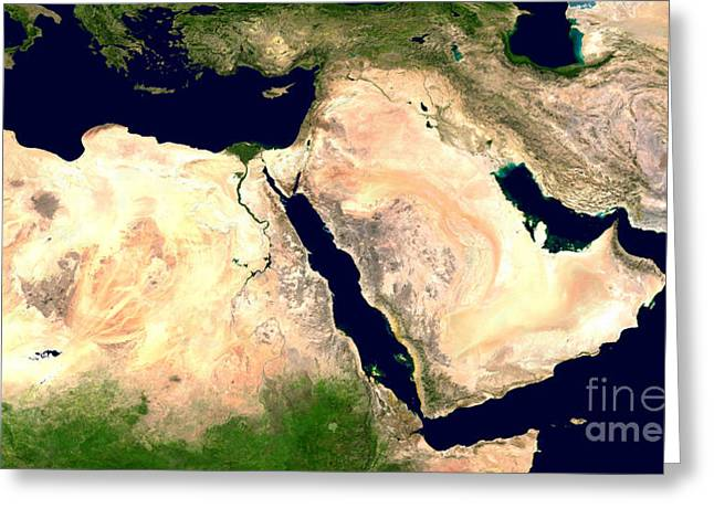 Middle East Greeting Card by NASA / Science Source
